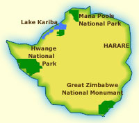 Touraco Travel Servies - Zimbabwe map